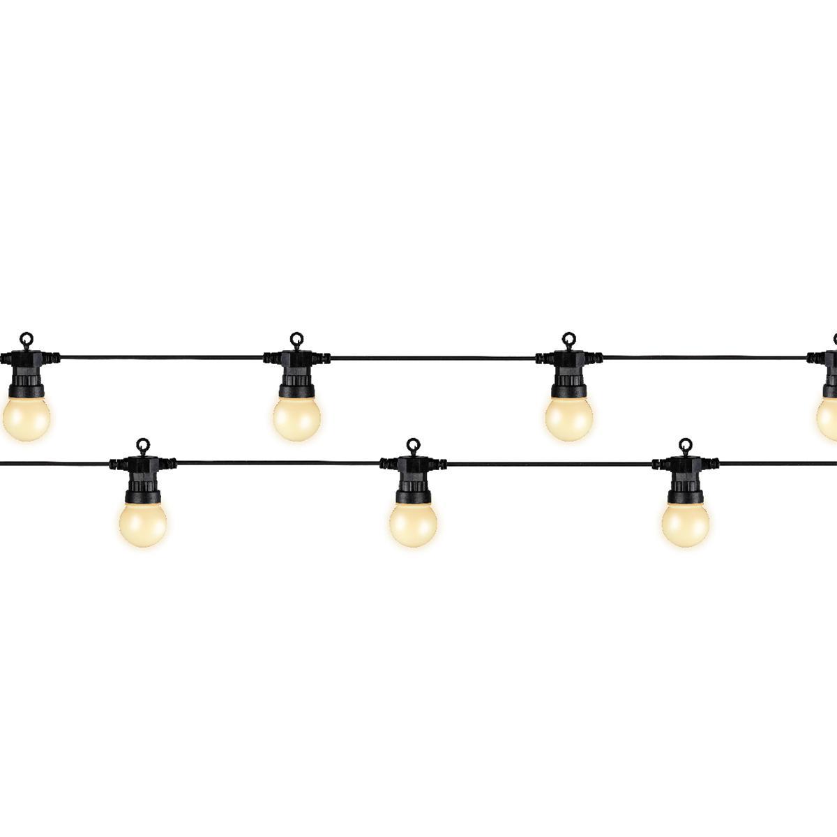 Jardideco Guirlande lumineuse 20 Led ampoules fumées - Blanc chaud