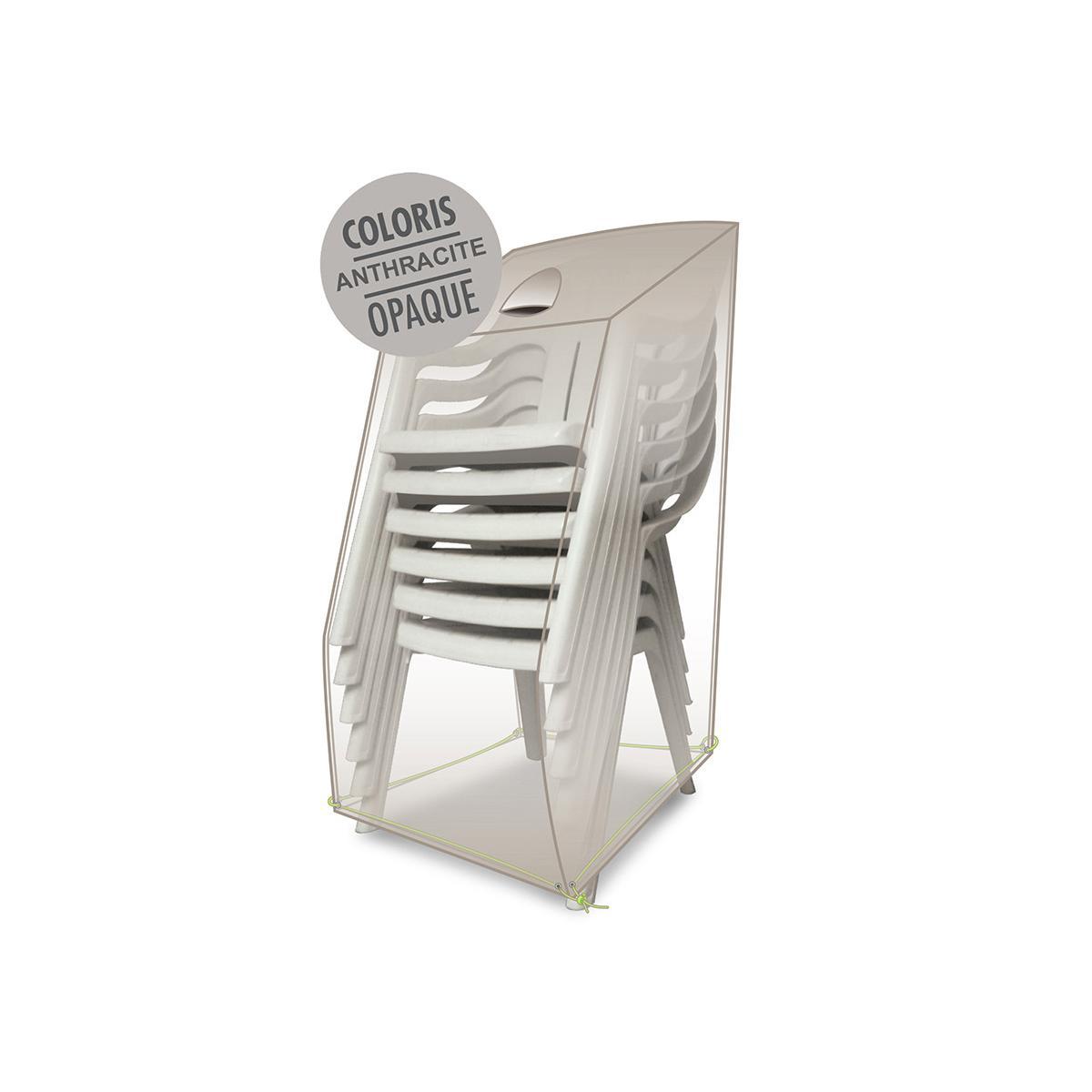 Jardideco Housse de protection pour chaises empilables 66 x 66 x 110/80 cm
