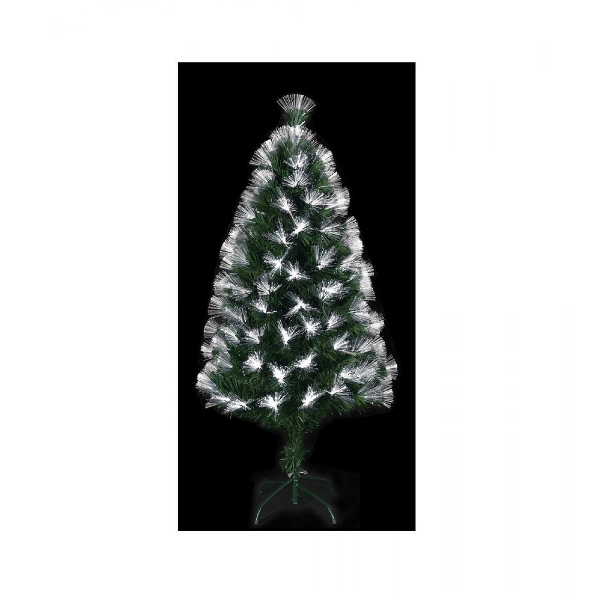 Jardideco Sapin lumineux à fibres optiques et 88 ampoules LED - Vert - H 90 cm