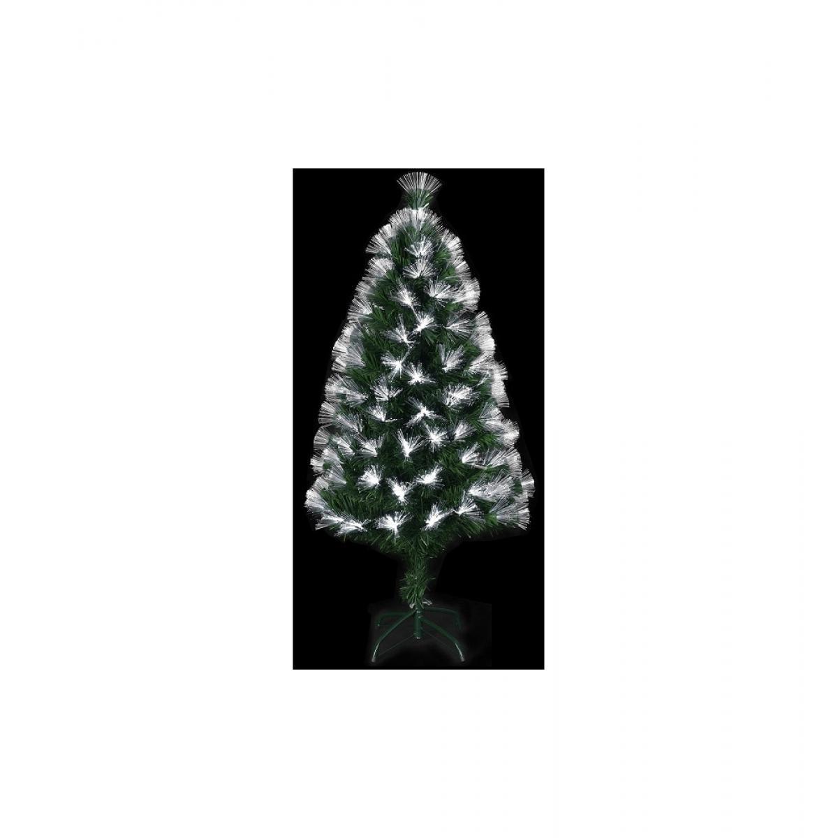 Jardideco Sapin lumineux à fibres optiques et 170 ampoules LED - Vert - H 150 cm