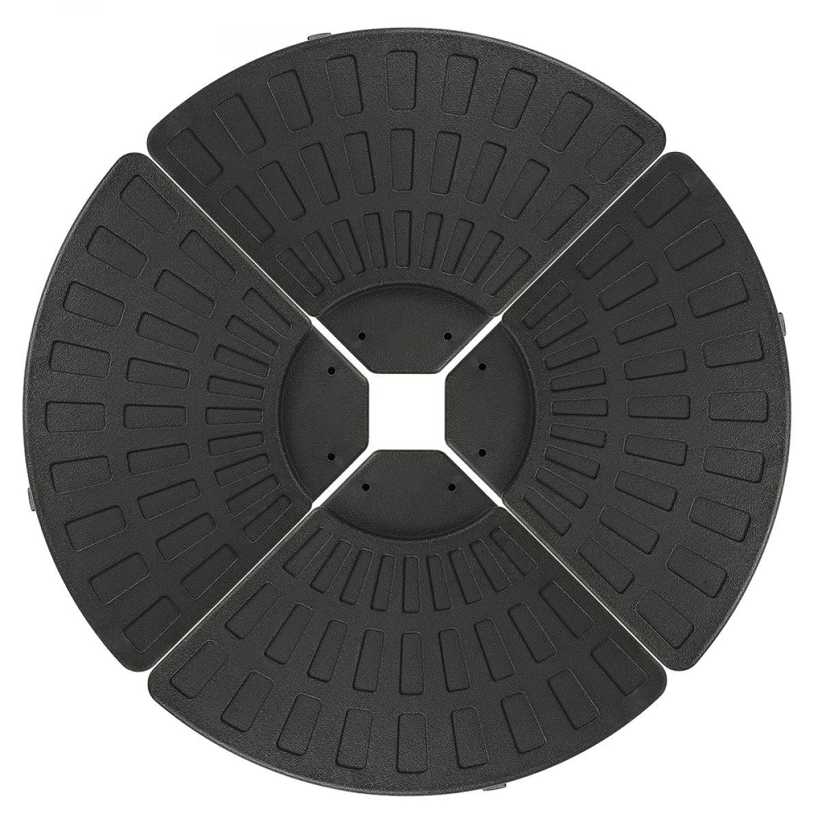 Jeobest Base de Parasol Pied de Parasol 4 Plaques Durable Noir 96*96*8cm