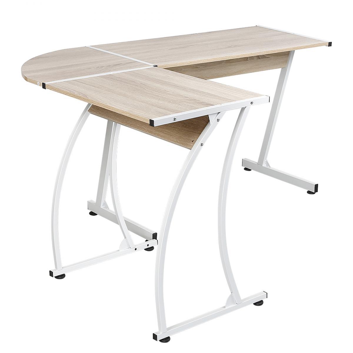 Jeobest Bureau d'angle, table de bureau style contemporain 99-64 * 48 * 73 cm couleur chêne