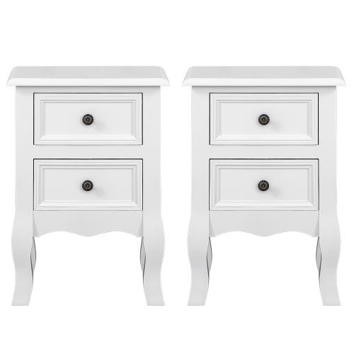 Jeobest - Lot de 2 tables de chevet, tables de nuit avec 2 tiriors blanc - Chevet