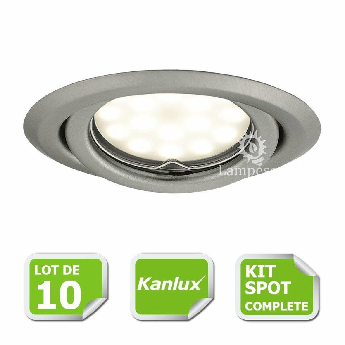 Kanlux Kit complete de 10 Spots encastrable chrome mat orientable marque Kanlux avec GU10 LED 5W 3000K blanc chaud