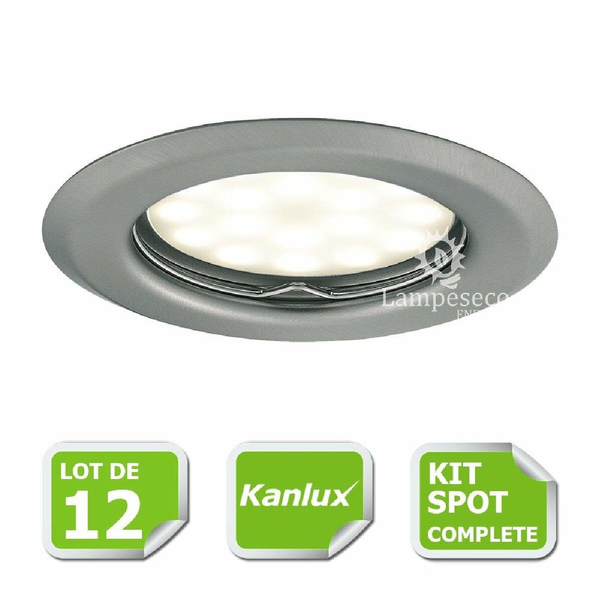 Kanlux Kit complete de 12 Spots encastrable chrome mat marque Kanlux avec GU10 LED 5W Blanc Chaud