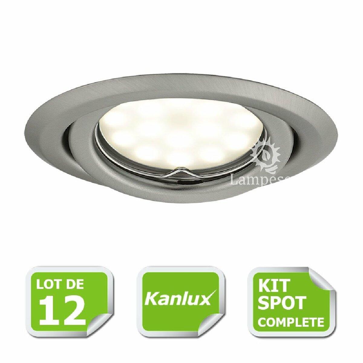Kanlux Kit complete de 12 Spots encastrable chrome mat orientable marque Kanlux avec GU10 LED 5W 3000K blanc chaud