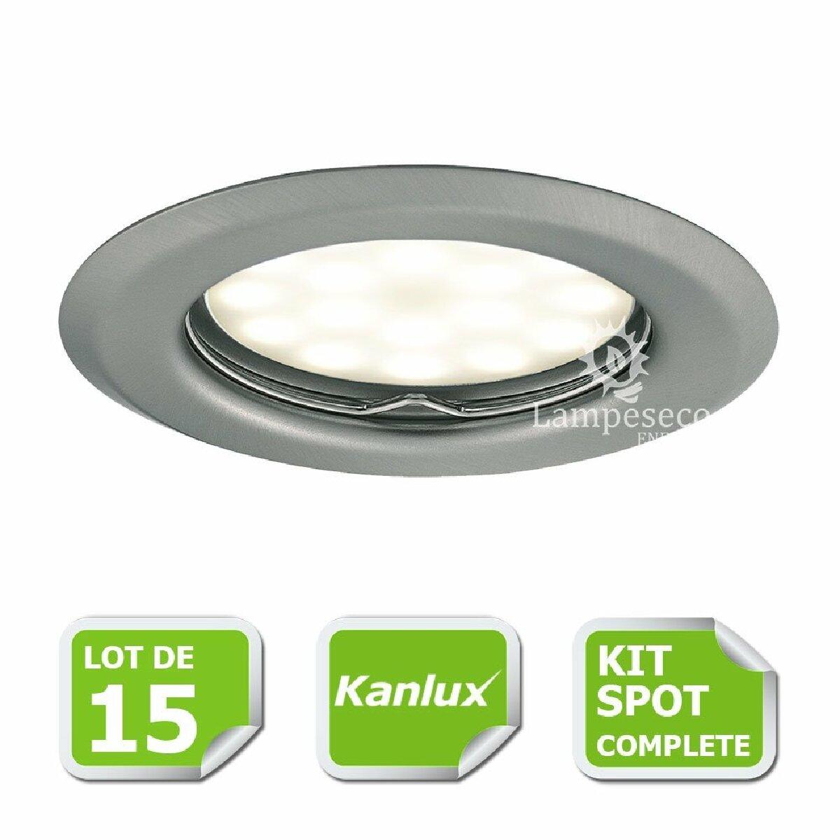 Kanlux Kit complete de 15 Spots encastrable chrome mat marque Kanlux avec GU10 LED 5W Blanc Chaud