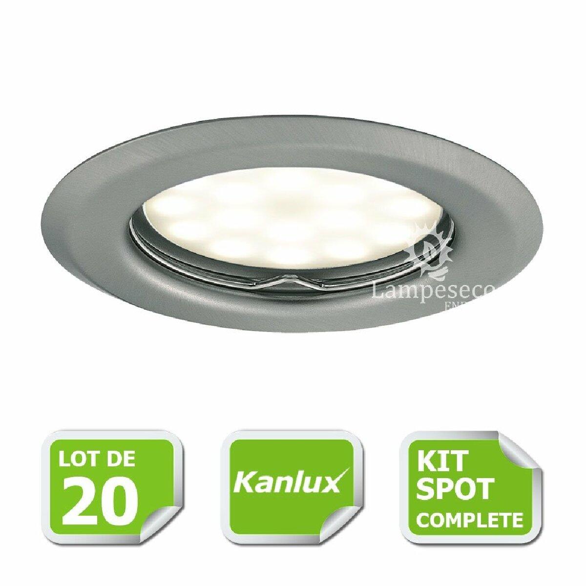 Kanlux Kit complete de 20 Spots encastrable chrome mat marque Kanlux avec GU10 LED 5W Blanc Chaud