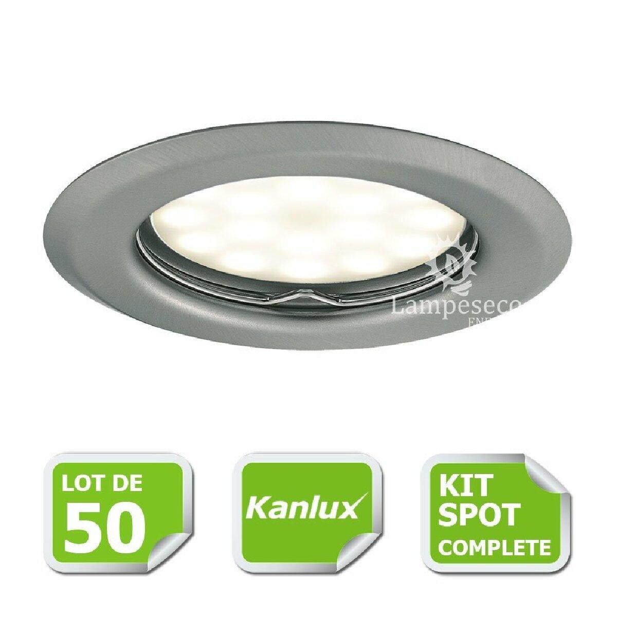 Kanlux Kit complete de 50 Spots encastrable chrome mat marque Kanlux avec GU10 LED 5W Blanc Chaud