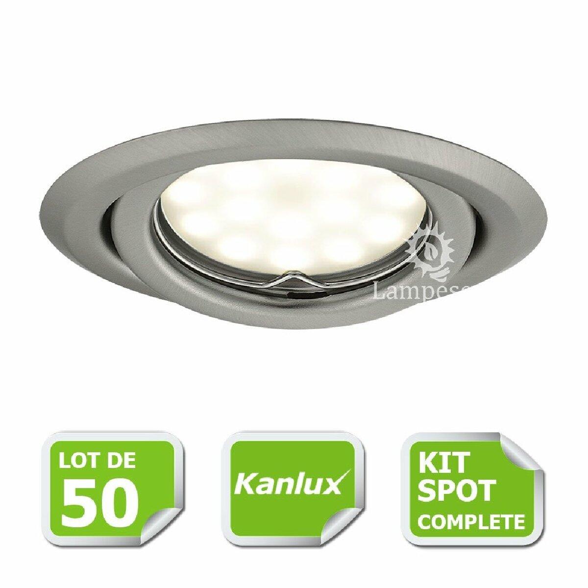 Kanlux Kit complete de 50 Spots encastrable chrome mat orientable marque Kanlux avec GU10 LED 5W 3000K blanc chaud