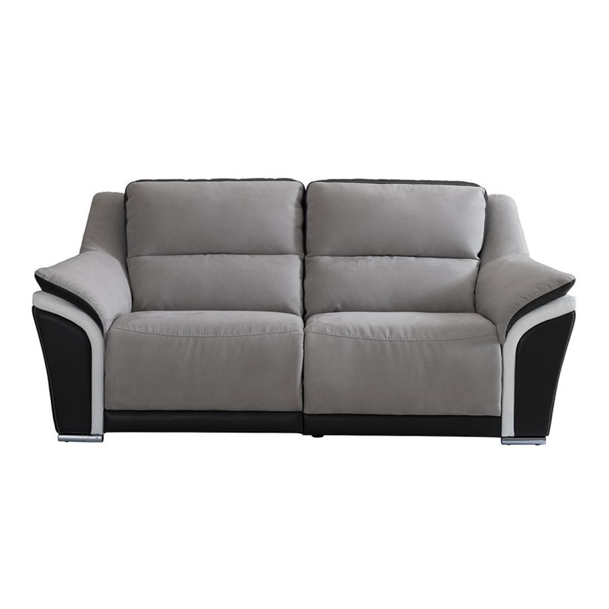 Kasalinea Canapé de relaxation manuel 2 places gris noir et blanc en cuir italien SINATRA