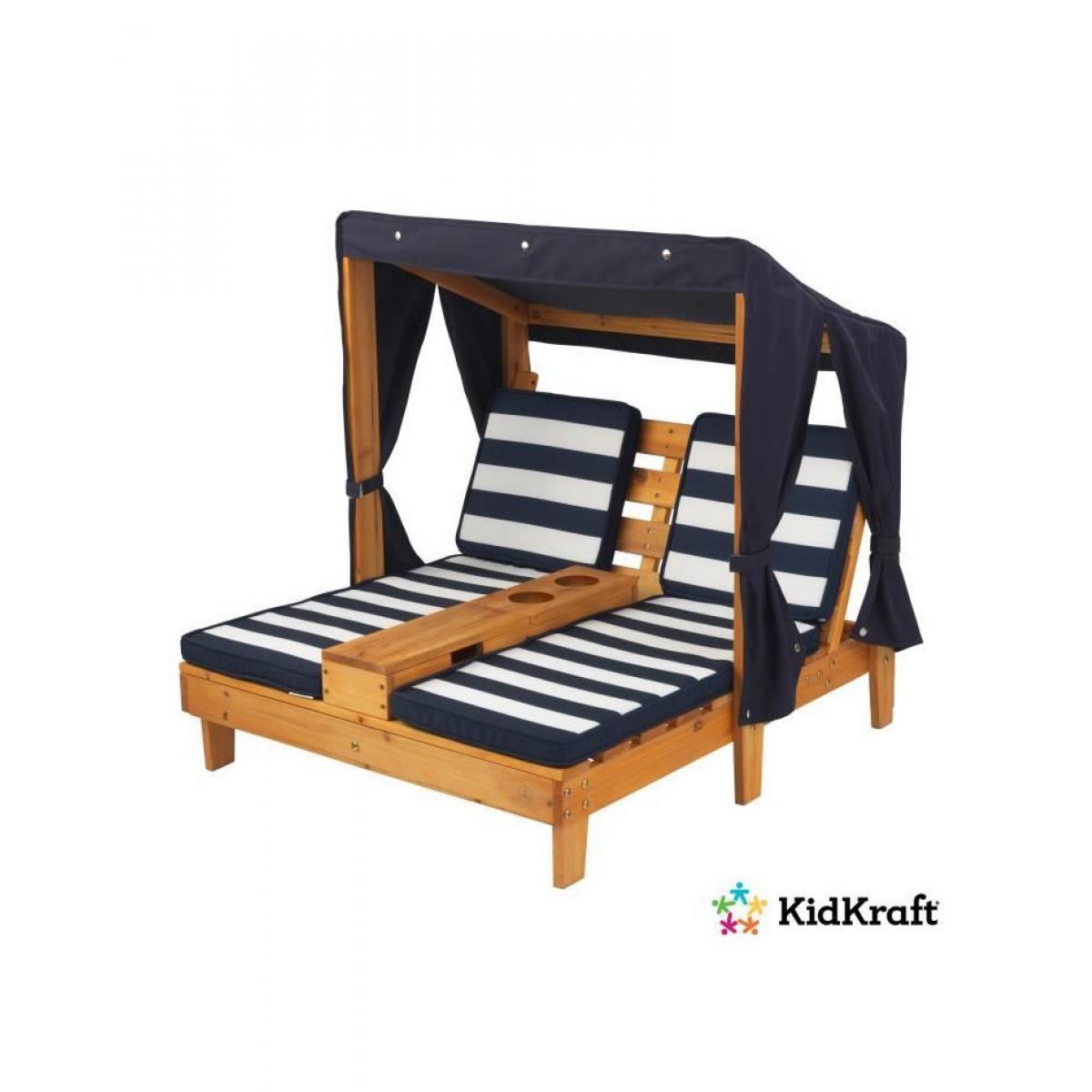 KidKraft Double Chaise longue avec porte-gobelets - couleur Miel avec coussins bleu et blanc