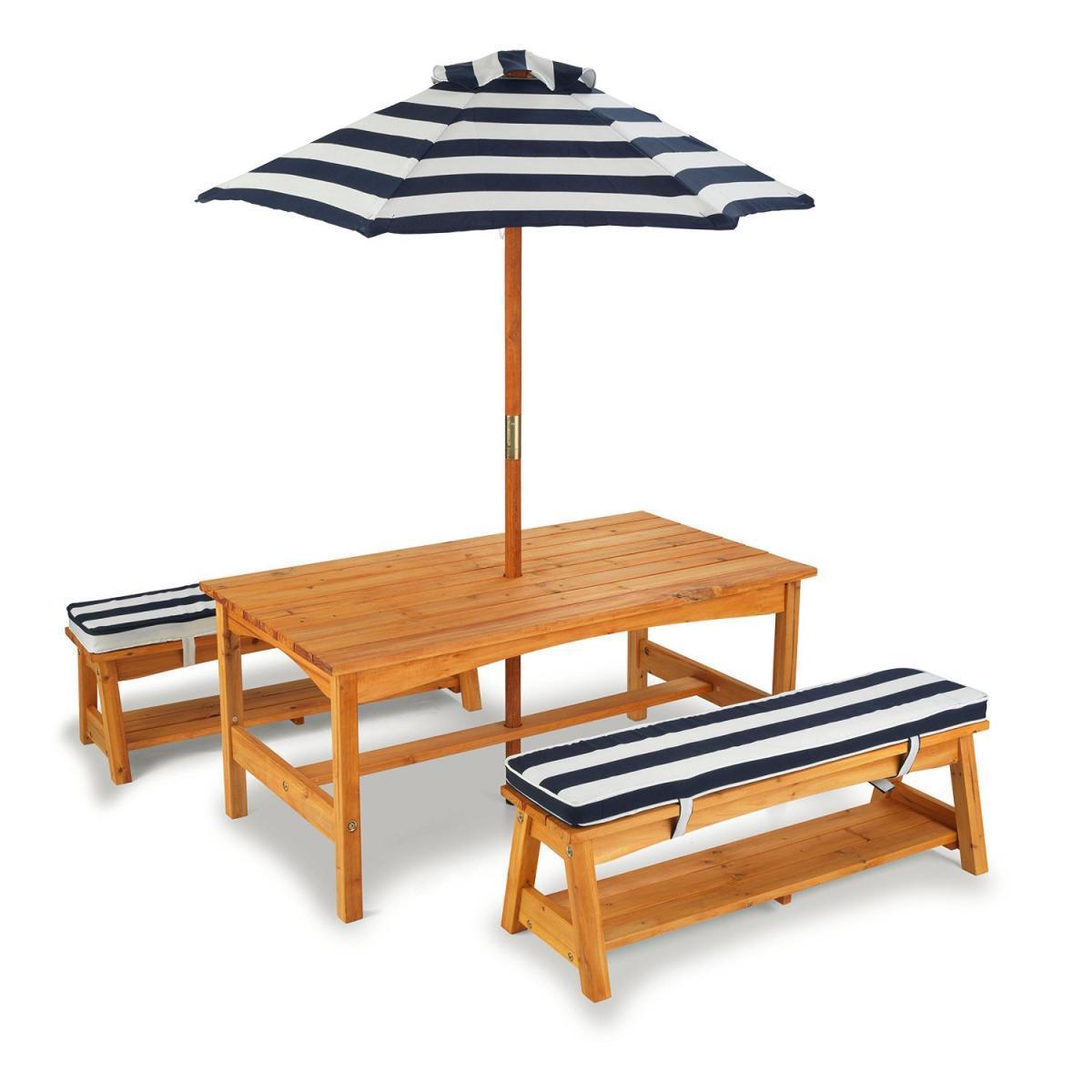 KidKraft Ensemble table et bancs de jardin avec coussins et parasol - rayé bleu marina et blanc