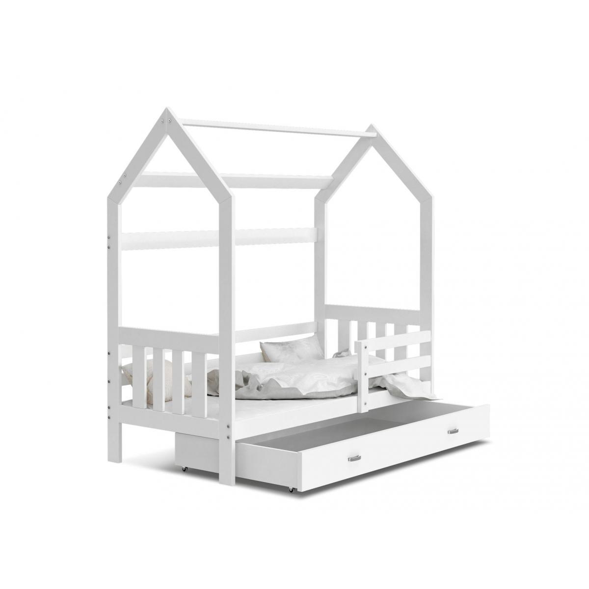 Kids Literie Lit cabane 2 Blanc-Blanc 80x160livré avec sommier, tiroir et matelas de 7cm OFFERT.