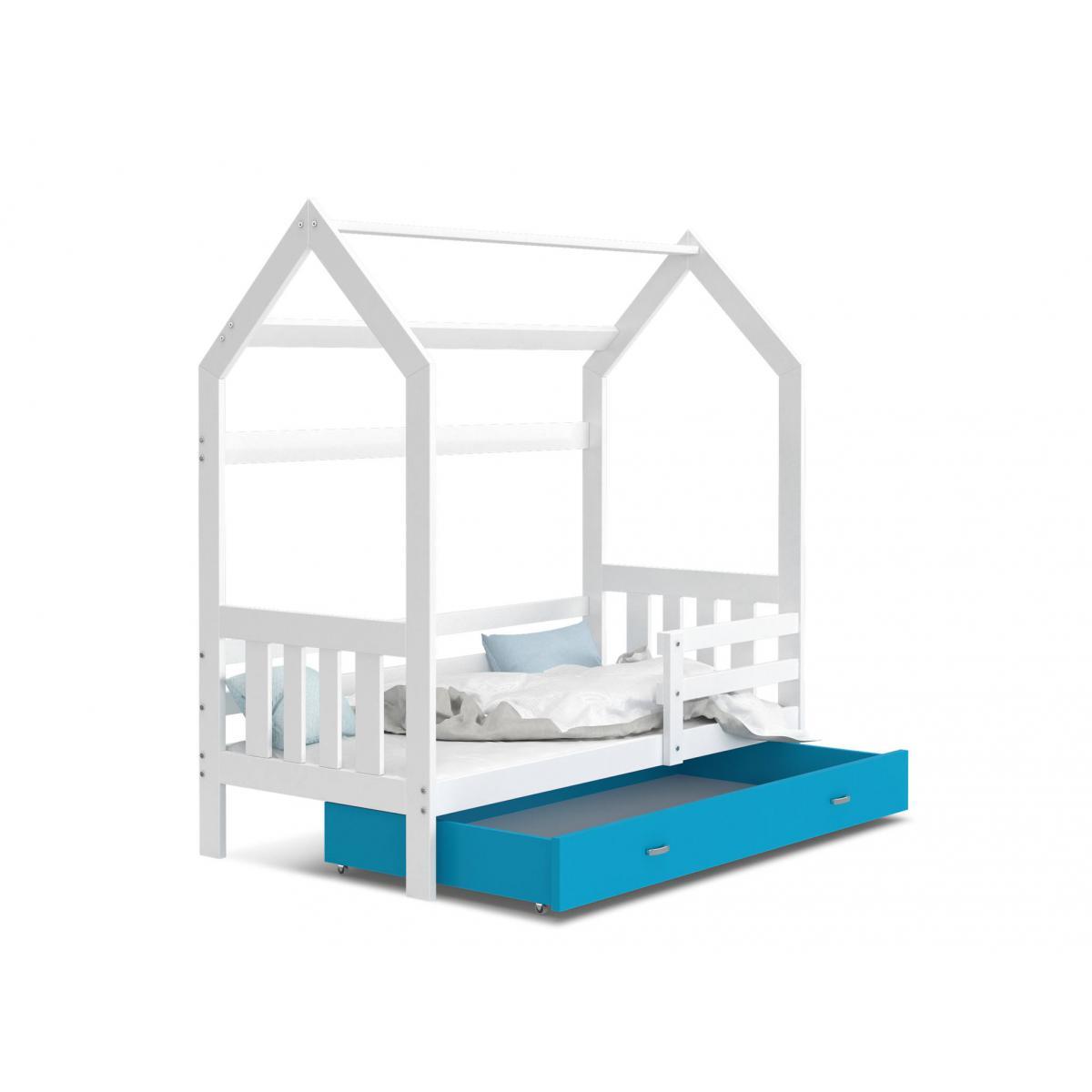 Kids Literie Lit cabane 2 Blanc-Bleu 80x160livré avec sommier, tiroir et matelas de 7cm OFFERT.