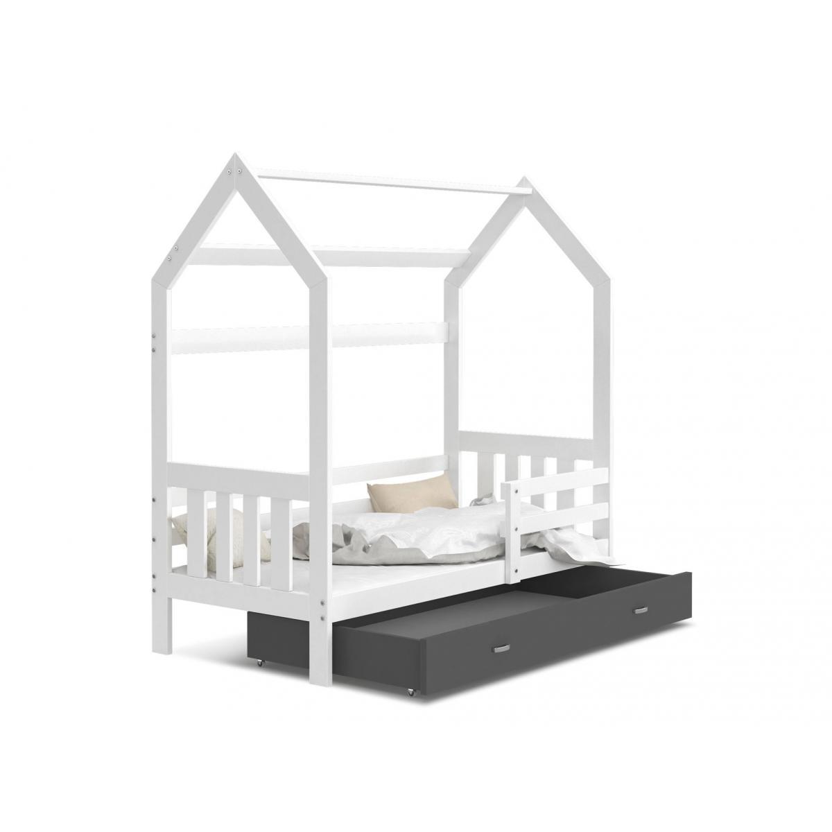 Kids Literie Lit cabane 2 Blanc-Gris 80x160livré avec sommier, tiroir et matelas de 7cm OFFERT.