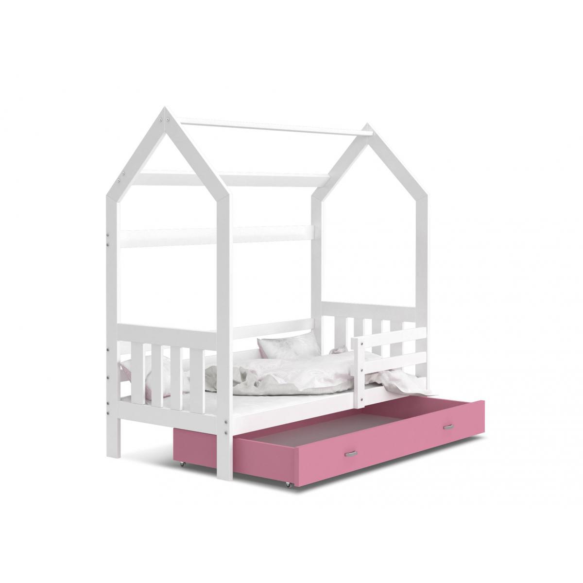 Kids Literie Lit cabane 2 Blanc-Rose 80x160livré avec sommier, tiroir et matelas de 7cm OFFERT.
