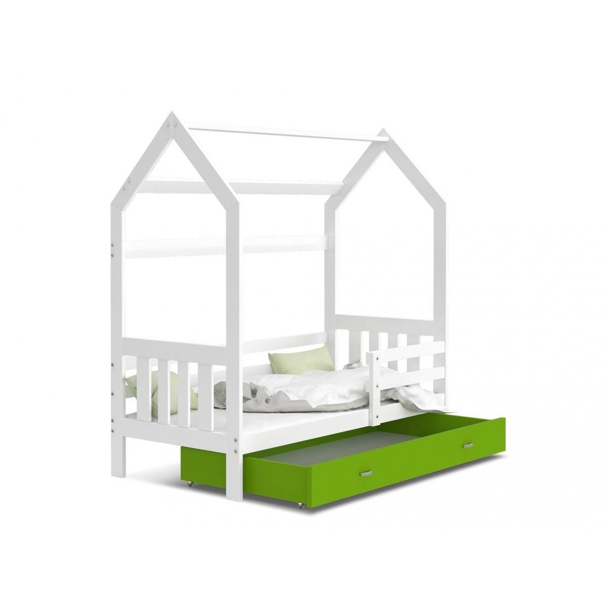 Kids Literie Lit cabane 2 Blanc-Vert 80x160livré avec sommier, tiroir et matelas de 7cm OFFERT.