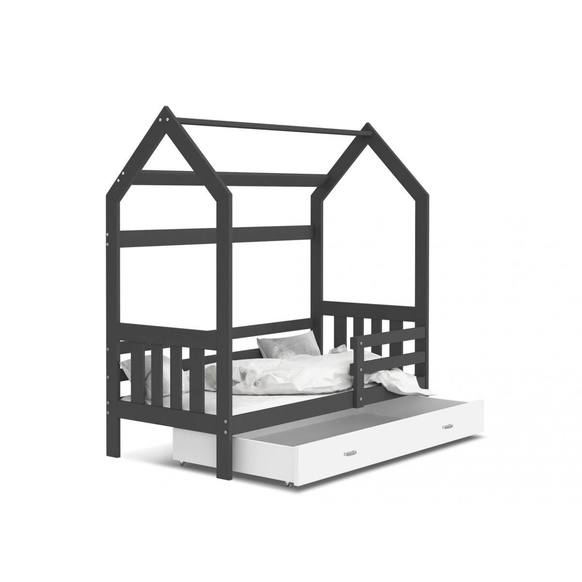 Kids Literie Lit cabane 2 Gris-Blanc 80x160livré avec sommier, tiroir et matelas de 7cm OFFERT.