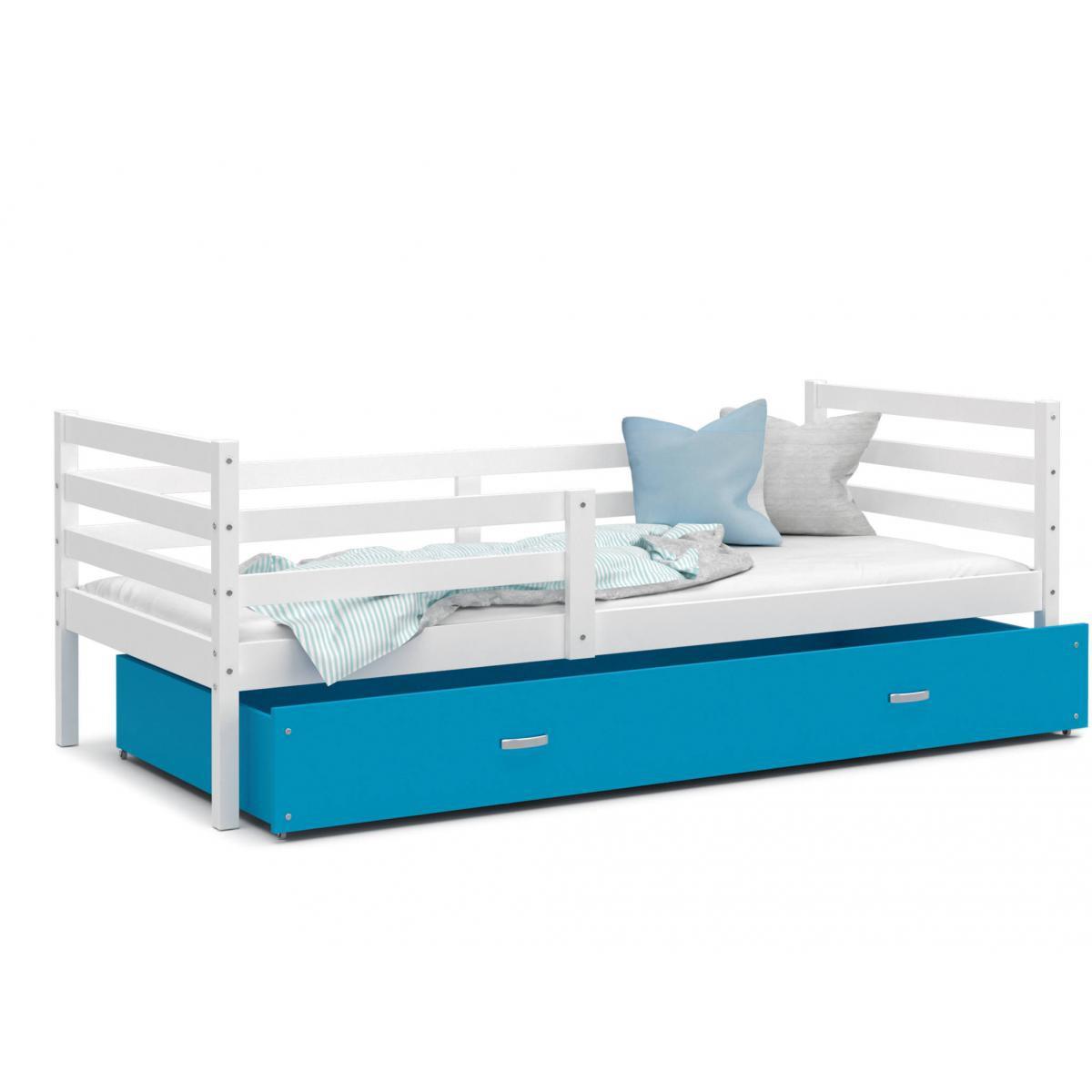 Kids Literie LIT Enfant Milo 90x190 Blanc - Bleu livré avec sommier, tiroir et matelas de 7cm OFFERT.