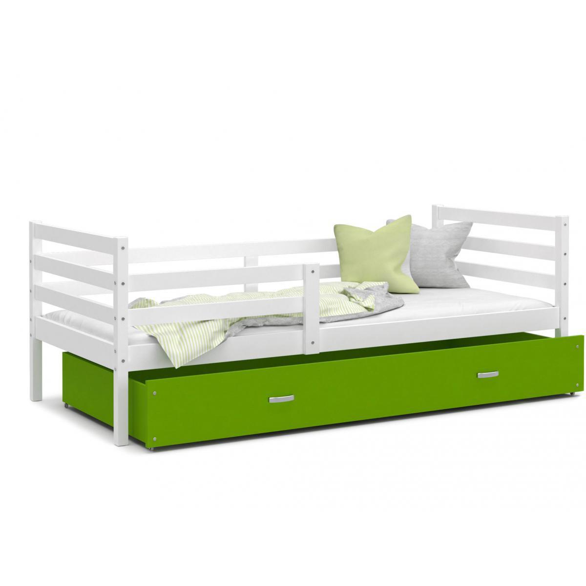 Kids Literie LIT Enfant Milo 90x190 Blanc - Vert livré avec sommier, tiroir et matelas de 7cm OFFERT.