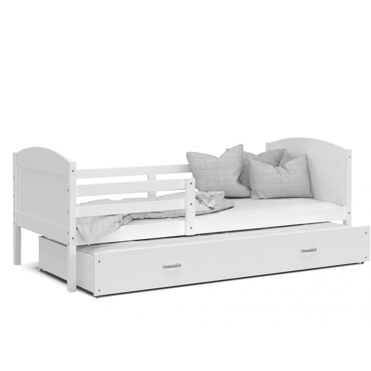 Kids Literie LIT Gigogne Mateo 90x190 Blanc - Blanc livré avec sommier, tiroir et matelas de 7cm OFFERT.
