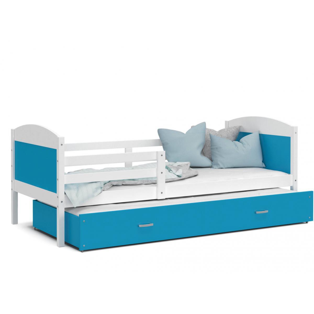 Kids Literie LIT Gigogne Mateo 90x190 Blanc - Bleu livré avec sommier, tiroir et matelas de 7cm OFFERT.