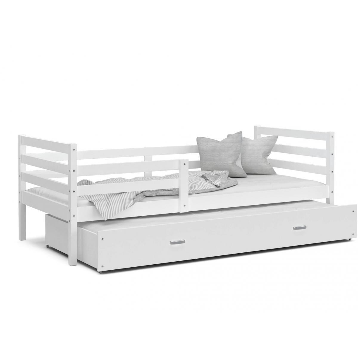 Kids Literie LIT Gigogne Milo 90x190 Blanc - Blanc livré avec sommier, tiroir et matelas de 7cm OFFERT.