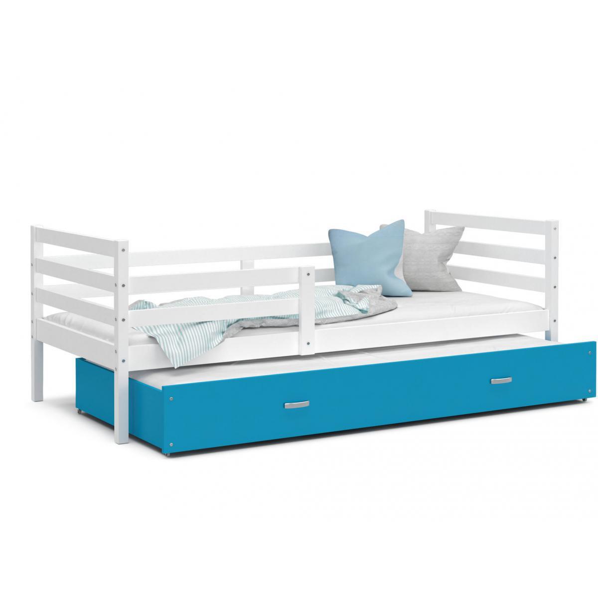 Kids Literie LIT Gigogne Milo 90x190 Blanc - Bleu livré avec sommier, tiroir et matelas de 7cm OFFERT.