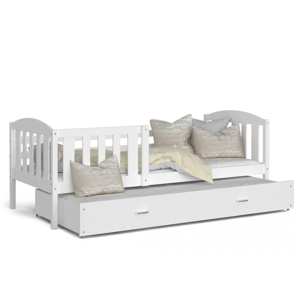 Kids Literie LIT Gigogne Teo 90x190 Blanc - Blanc livré avec sommier, tiroir et matelas de 7cm OFFERT.