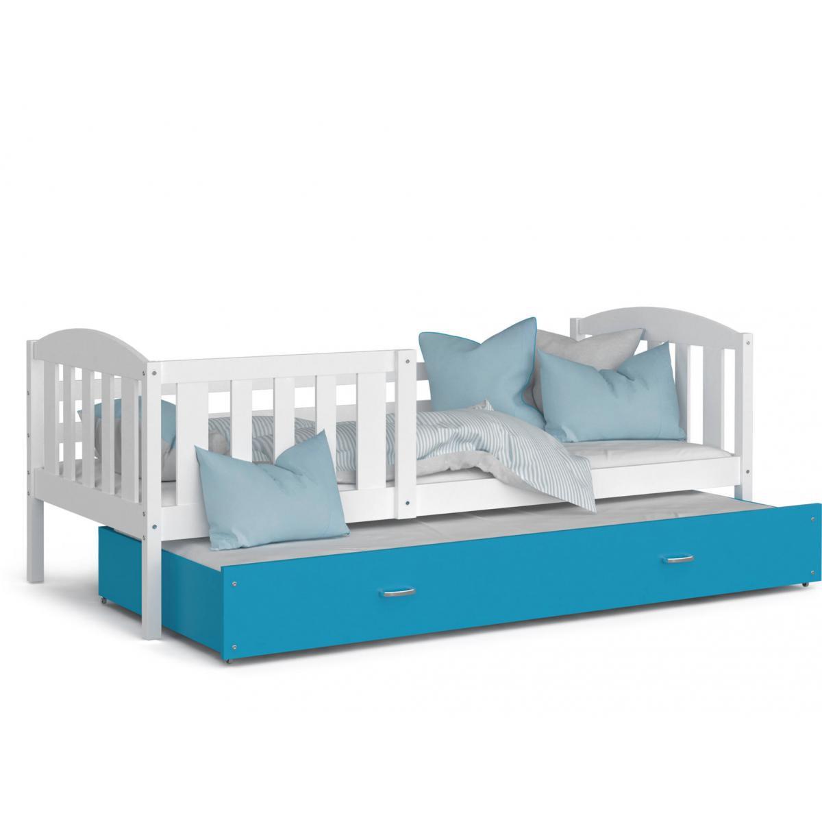 Kids Literie LIT Gigogne Teo 90x190 Blanc - Bleu livré avec sommier, tiroir et matelas de 7cm OFFERT.