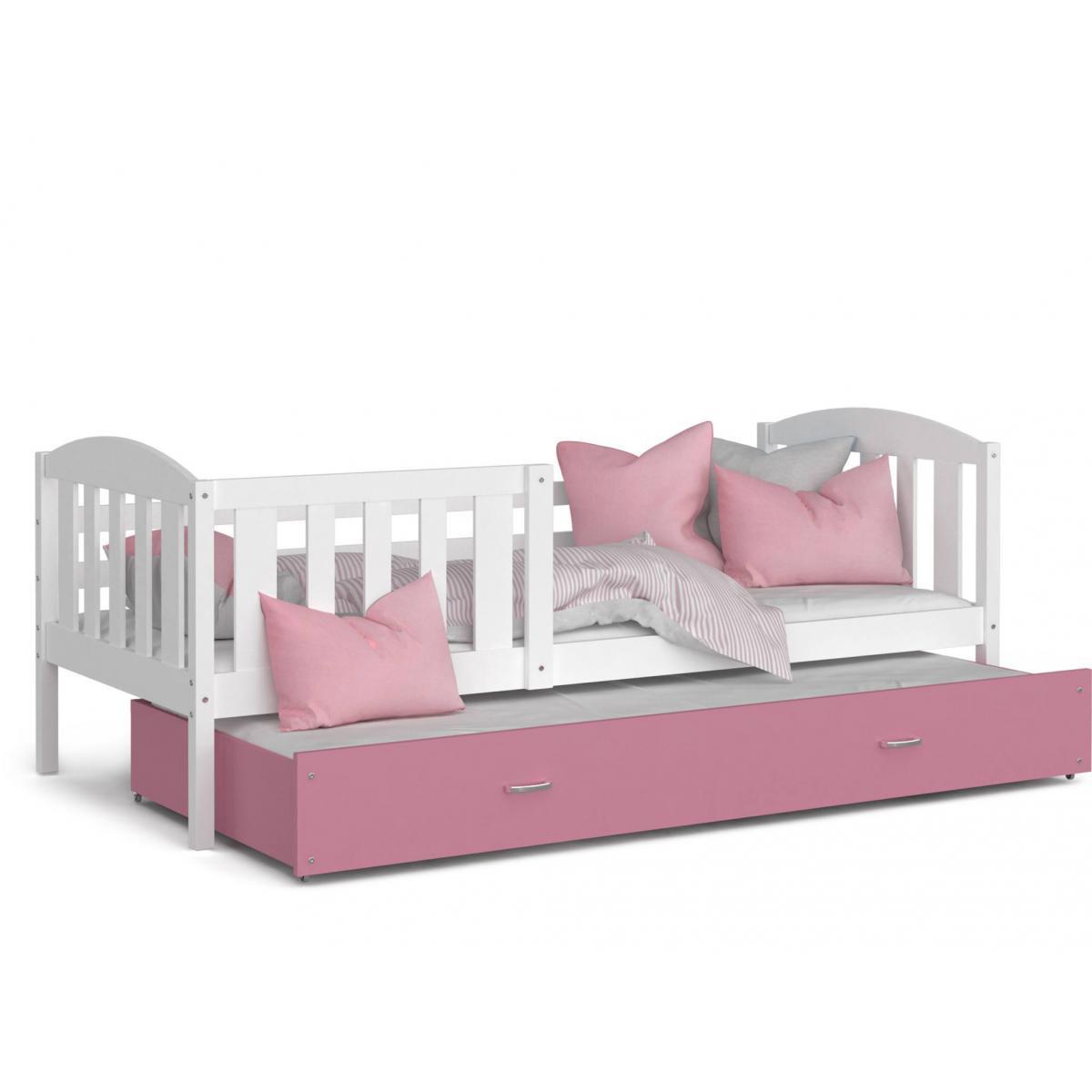 Kids Literie LIT Gigogne Teo 90x190 Blanc - Rose livré avec sommier, tiroir et matelas de 7cm OFFERT.