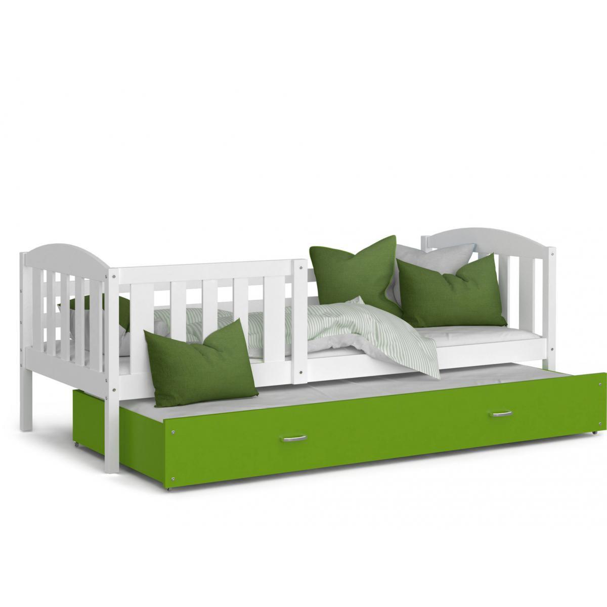 Kids Literie LIT Gigogne Teo 90x190 Blanc - Vert livré avec sommier, tiroir et matelas de 7cm OFFERT.