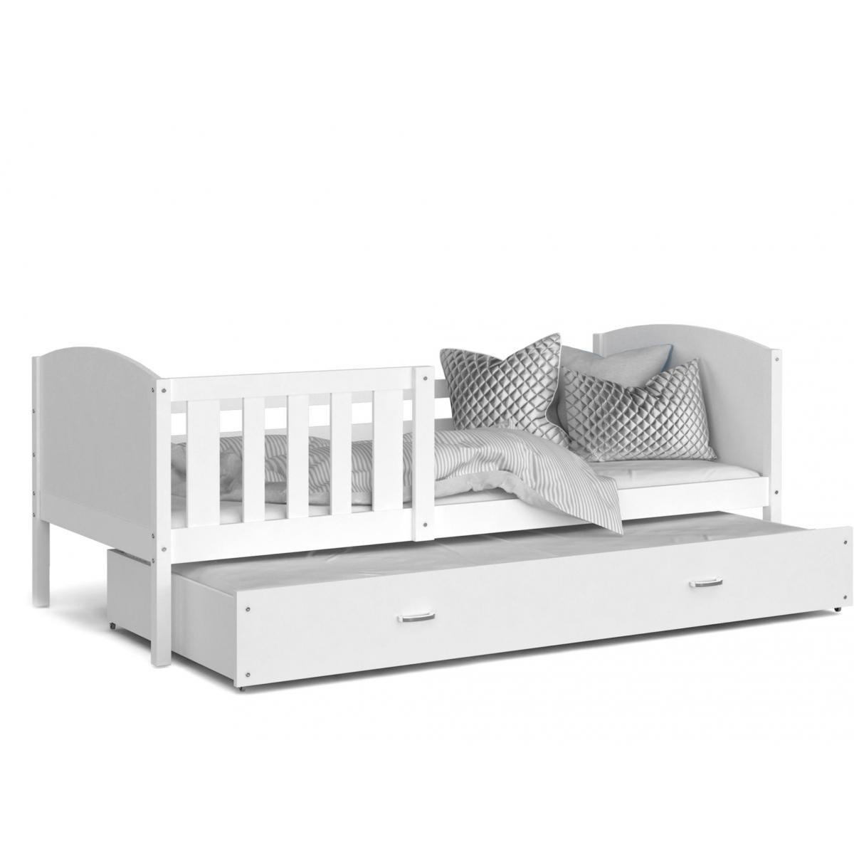 Kids Literie LIT Gigogne Tomy 90x190 Blanc - Blanc livré avec sommier, tiroir et matelas de 7cm OFFERT.
