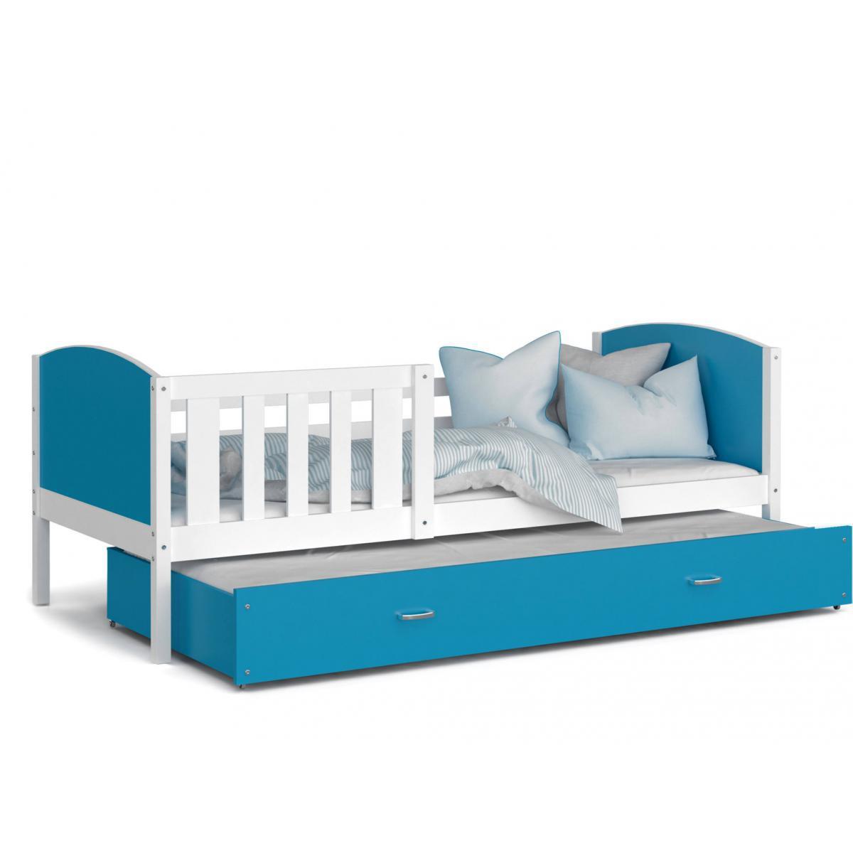 Kids Literie LIT Gigogne Tomy 90x190 Blanc - Bleu livré avec sommier, tiroir et matelas de 7cm OFFERT.