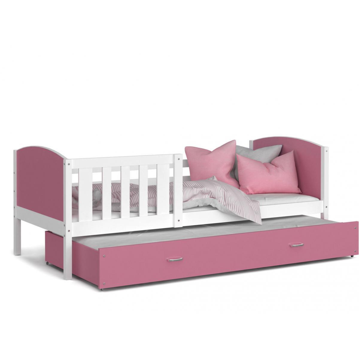 Kids Literie LIT Gigogne Tomy 90x190 Blanc - Rose livré avec sommier, tiroir et matelas de 7cm OFFERT.