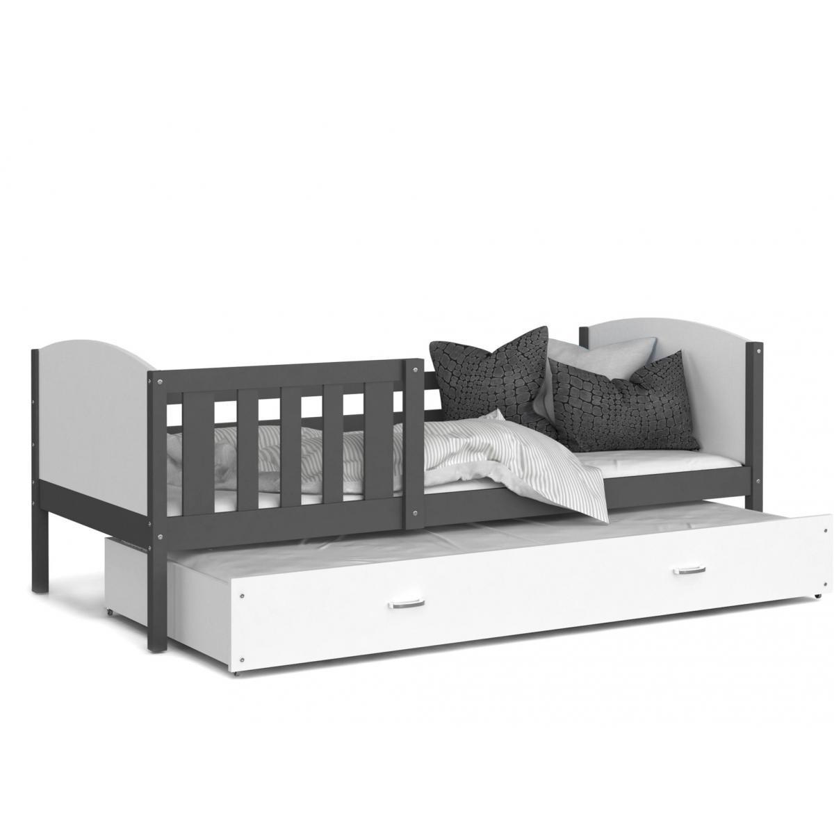 Kids Literie LIT Gigogne Tomy 90x190 Gris - Blanc livré avec sommier, tiroir et matelas de 7cm OFFERT.