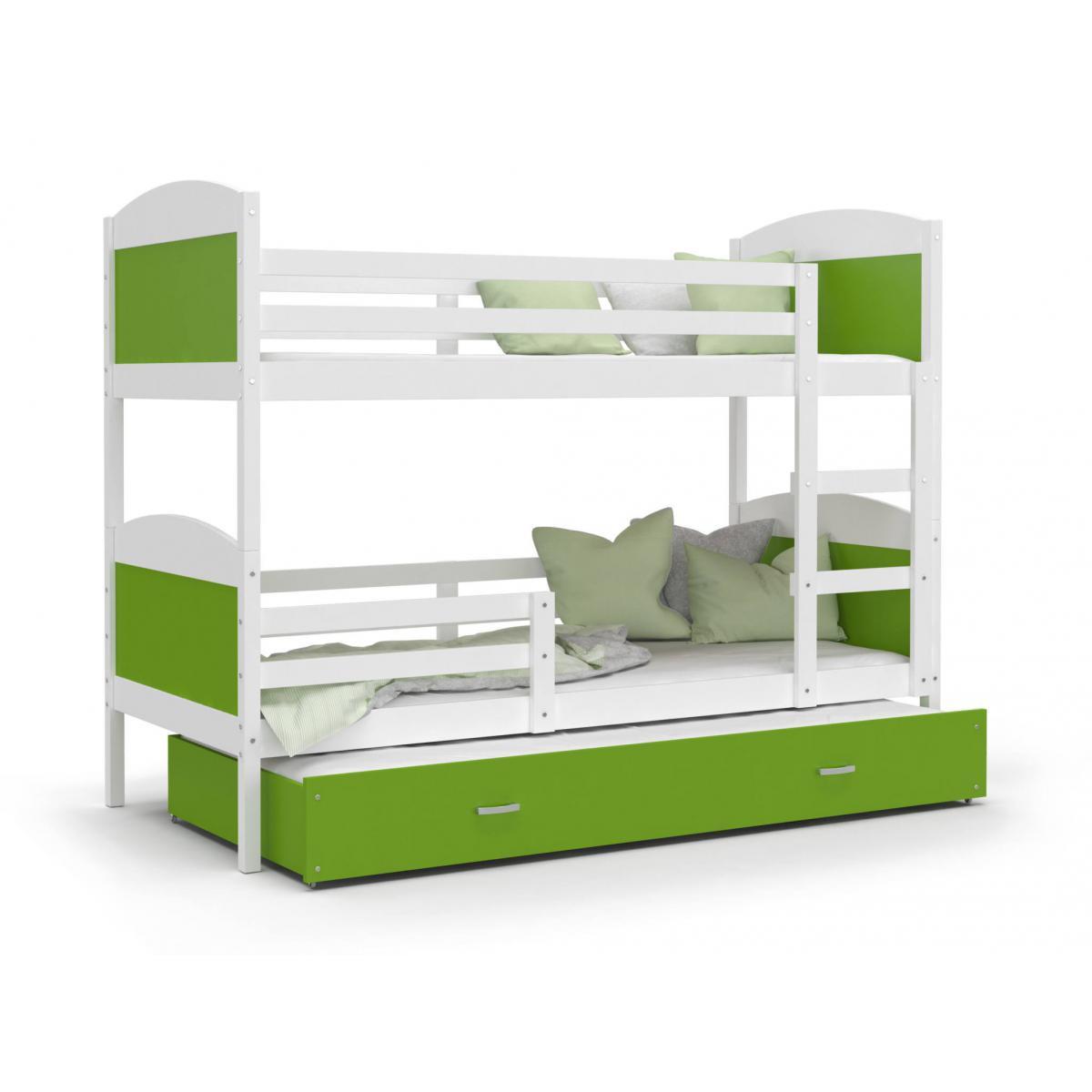 Kids Literie LIT superposé 3 Places Mateo 90x190 Blanc - Vert livré avec sommier, tiroir et matelas de 7cm OFFERT.