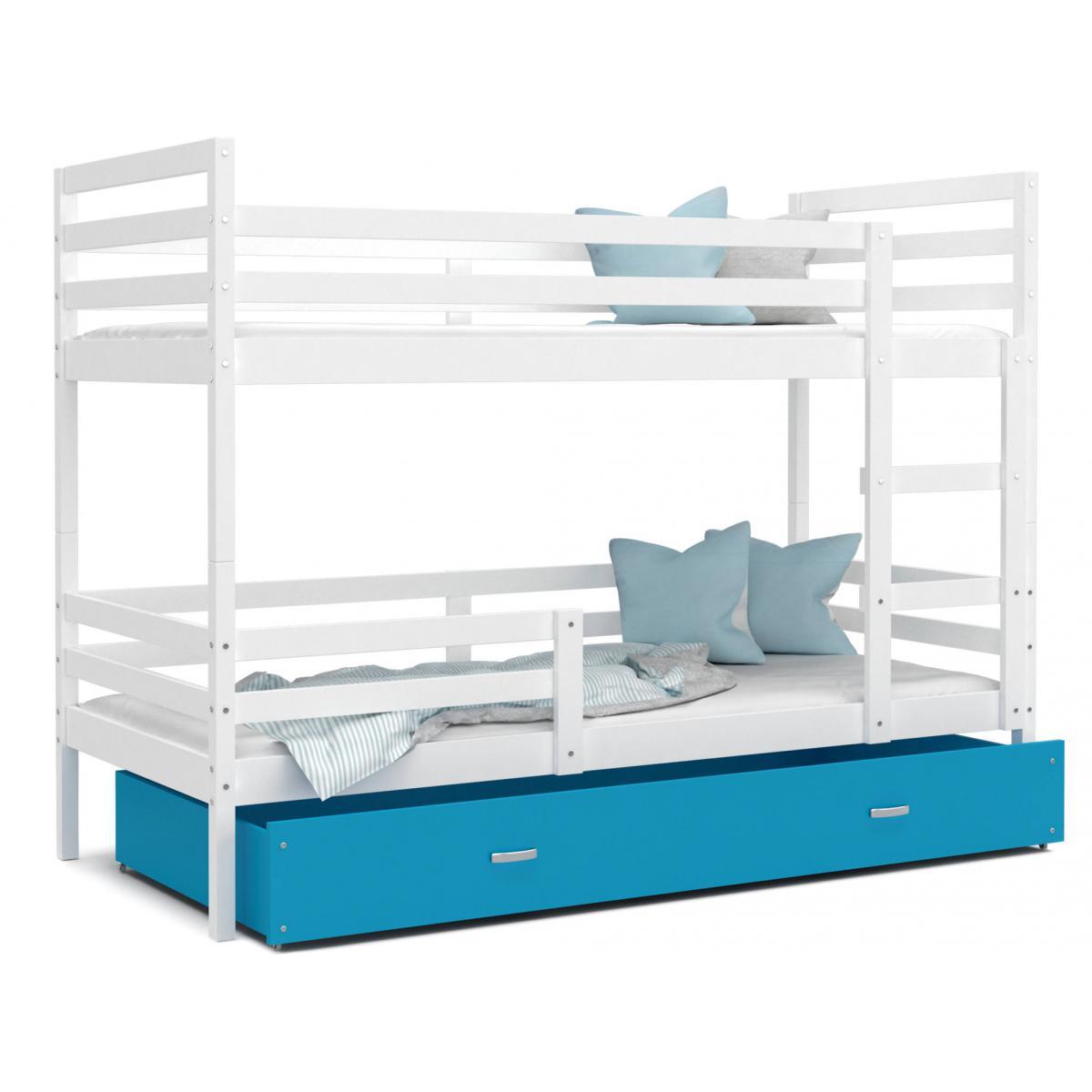 Kids Literie LIT superposé Milo 90x190 Blanc - Bleu livré avec sommier, tiroir et matelas de 7cm OFFERT.