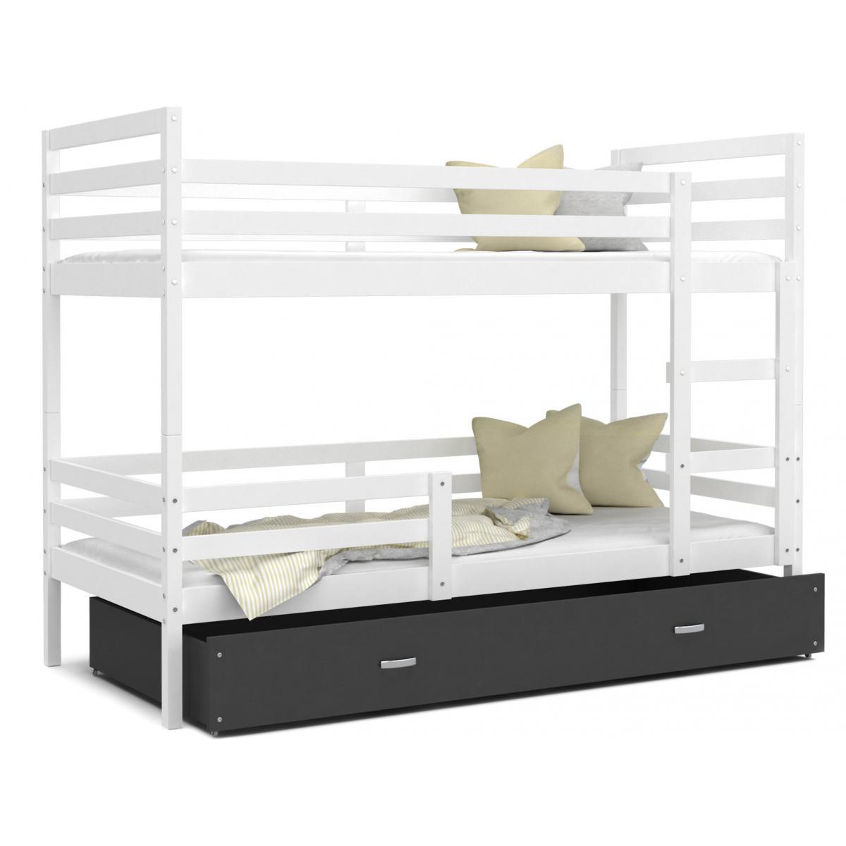 Kids Literie LIT superposé Milo 90x190 Blanc - Gris livré avec sommier, tiroir et matelas de 7cm OFFERT.