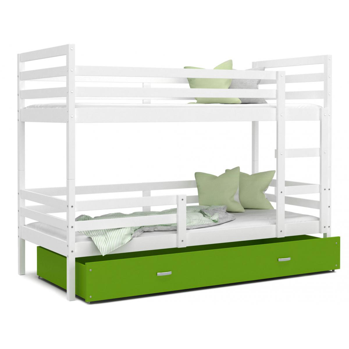 Kids Literie LIT superposé Milo 90x190 Blanc - Vert livré avec sommier, tiroir et matelas de 7cm OFFERT.