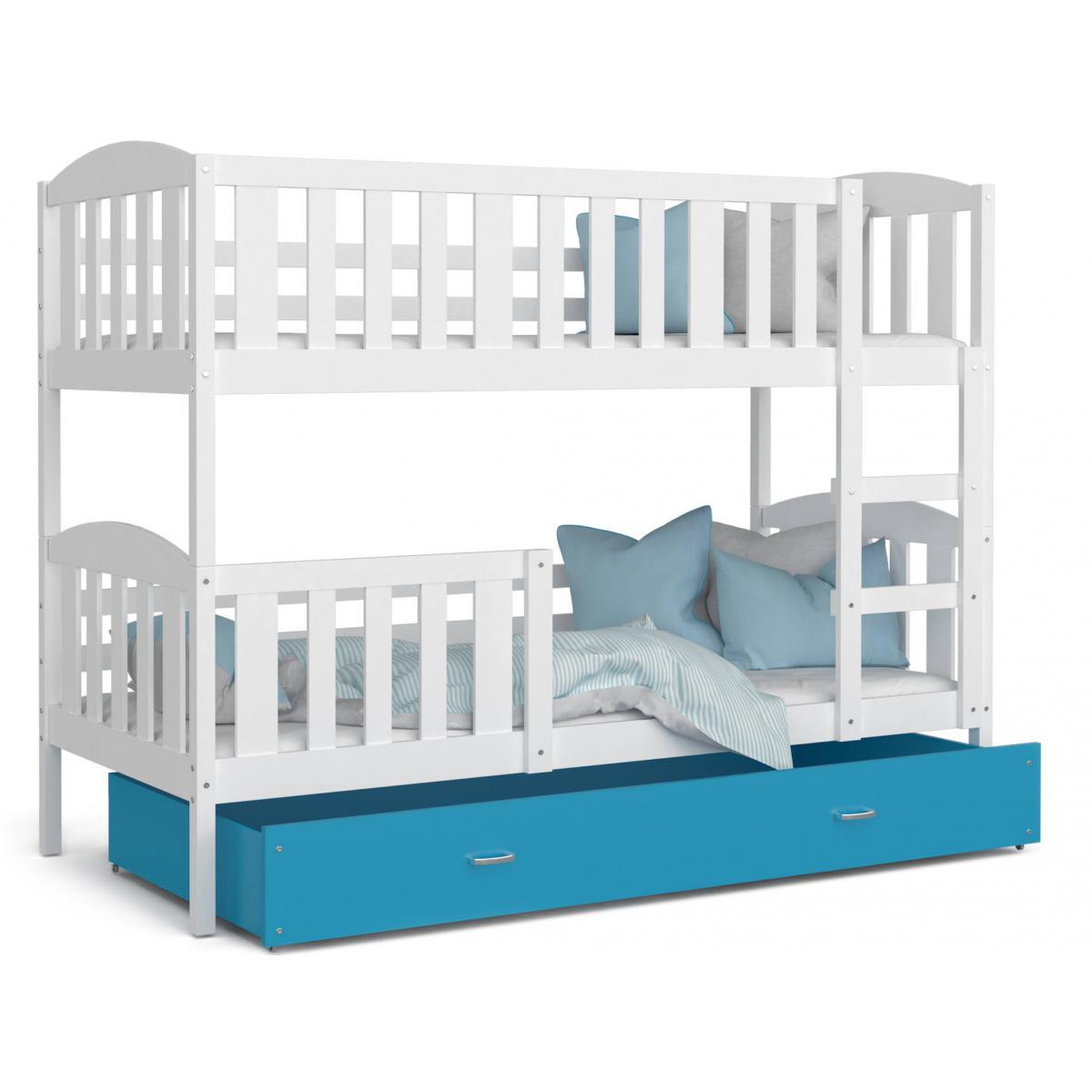 Kids Literie LIT superposé Teo 90×190 Blanc - Bleu livré avec sommier, tiroir et matelas de 7cm OFFERT.