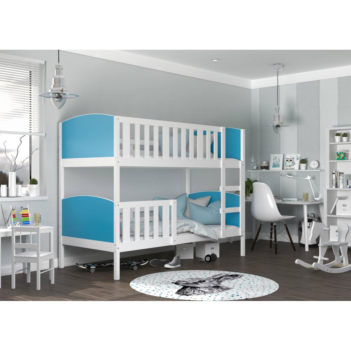 Kids Literie LIT superposé Tom 90x190 Blanc - Bleu Livré avec sommier