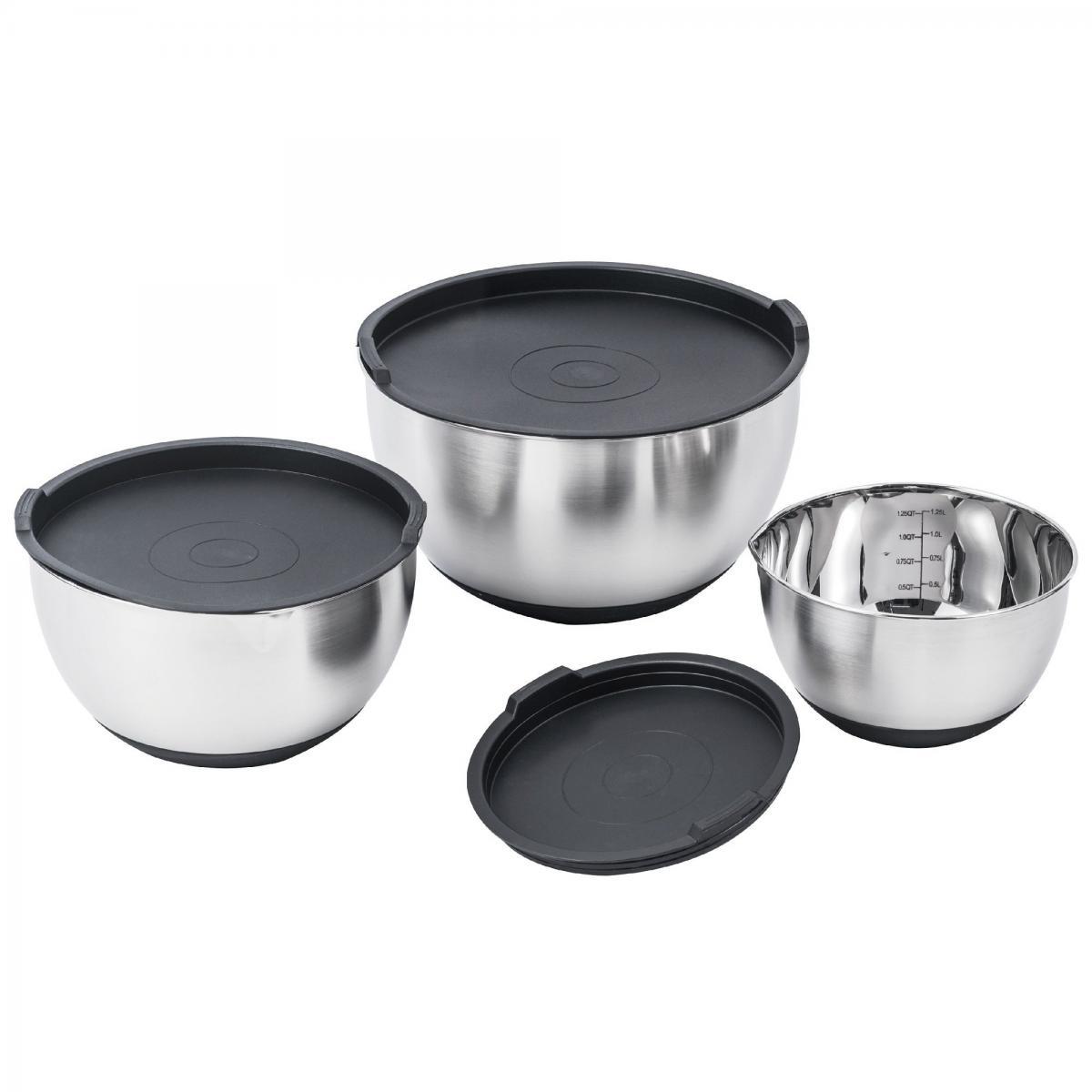 Kitchen Move Lot 3 Saladiers / Bols mélangeurs en acier inoxydable avec couvercle et bec verseur ALVA