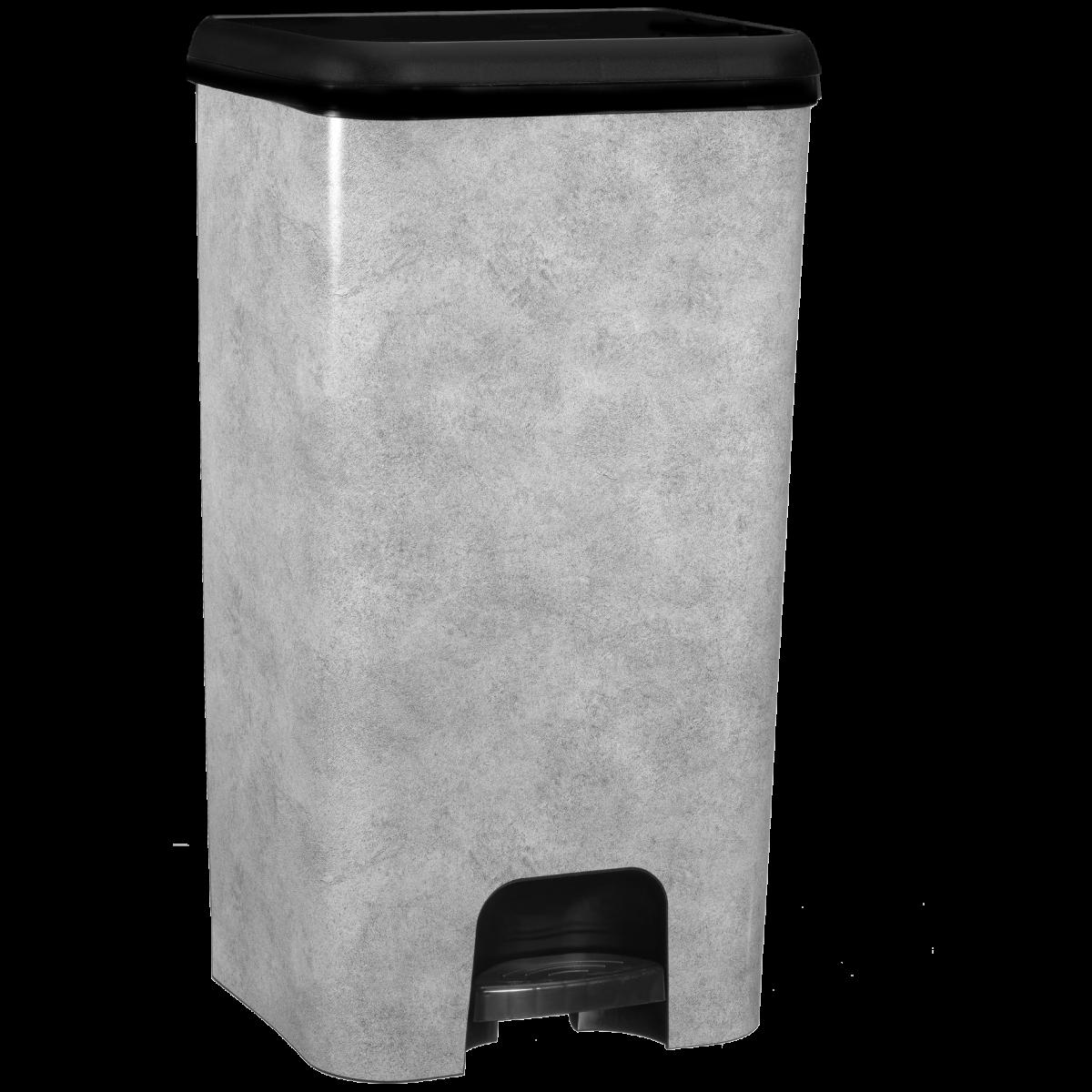 Kitchen Move Poubelle de cuisine à pédale LINCOLN béton en plastique 40L