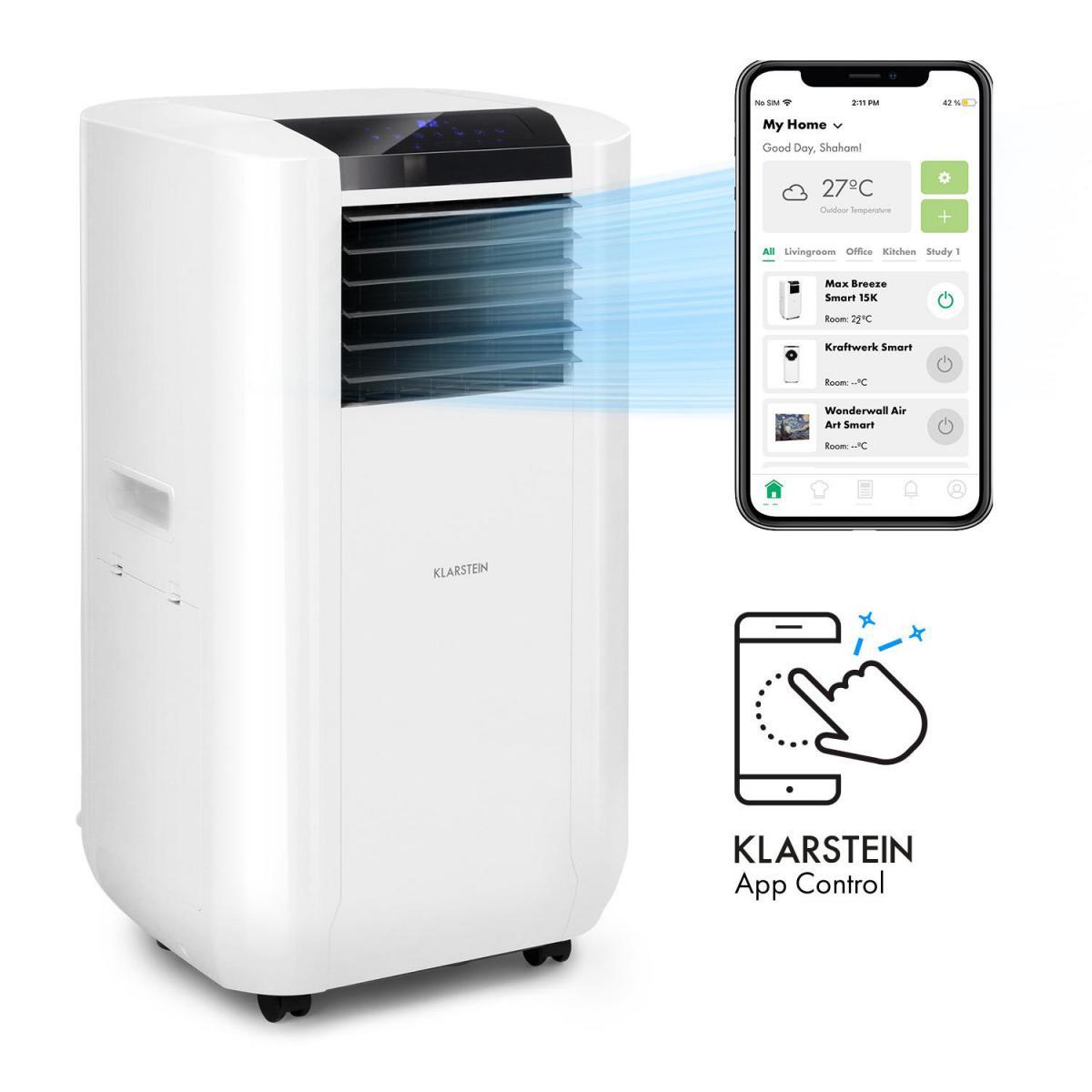 Klarstein Climatiseur mobile connecté - Klarstein Max Breeze Smart 15K - 15000 BTU (44 kW) - 500 m³/h - Blanc