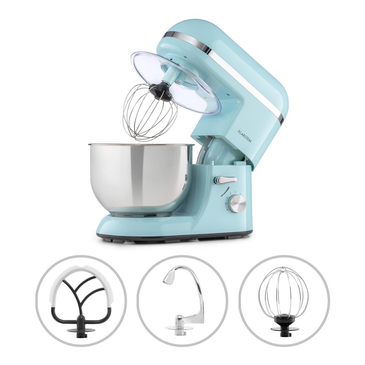 Klarstein Klarstein Bella Elegance - Robot de cuisine 1300W, bol mélangeur inox 5L, 6 vitesses - Bleu