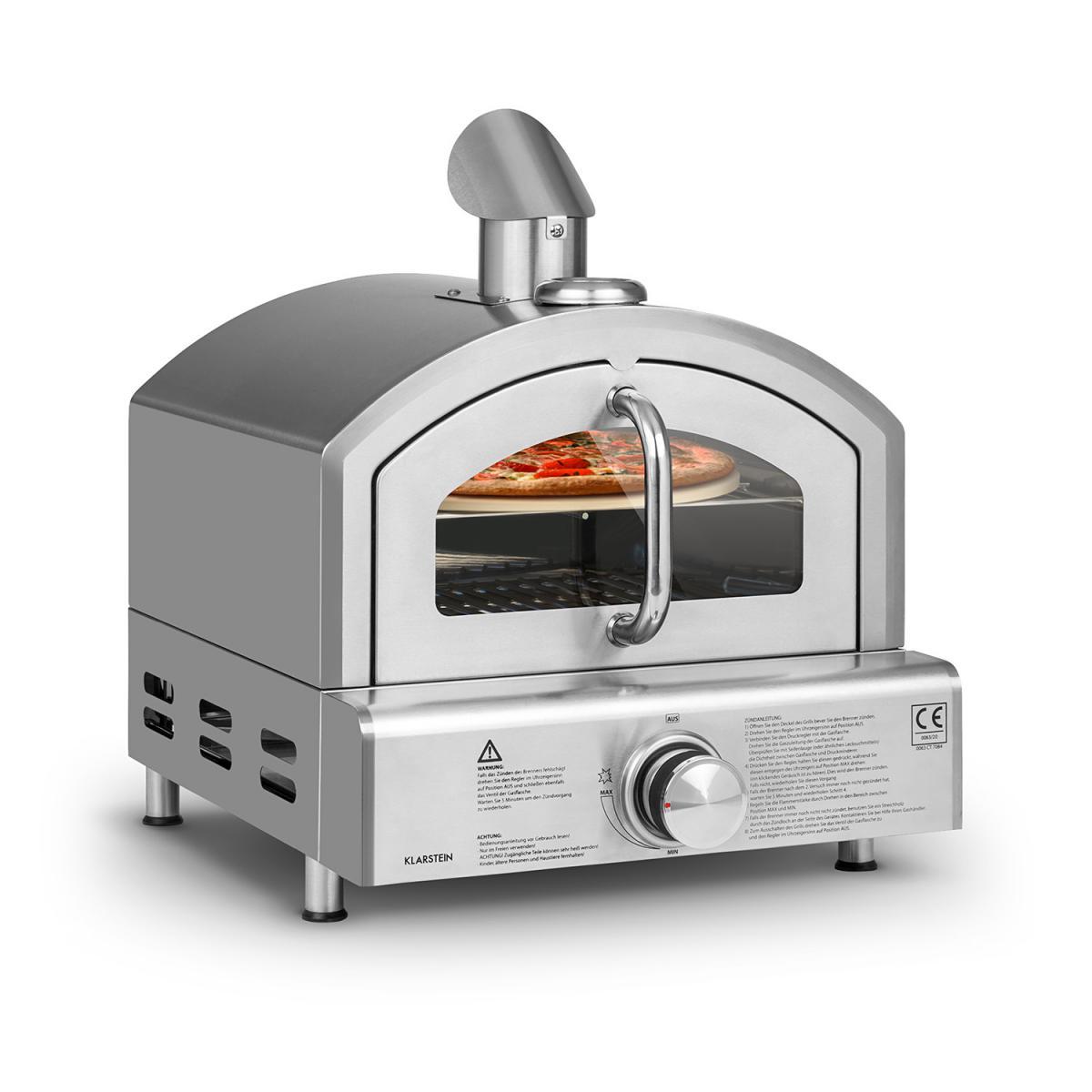 Klarstein Klarstein Pizzaiolo Neo - Four à pizza à gaz - Pression 50 mbar- Pierre de cuisson incluse & thermomètre intégré - Inox