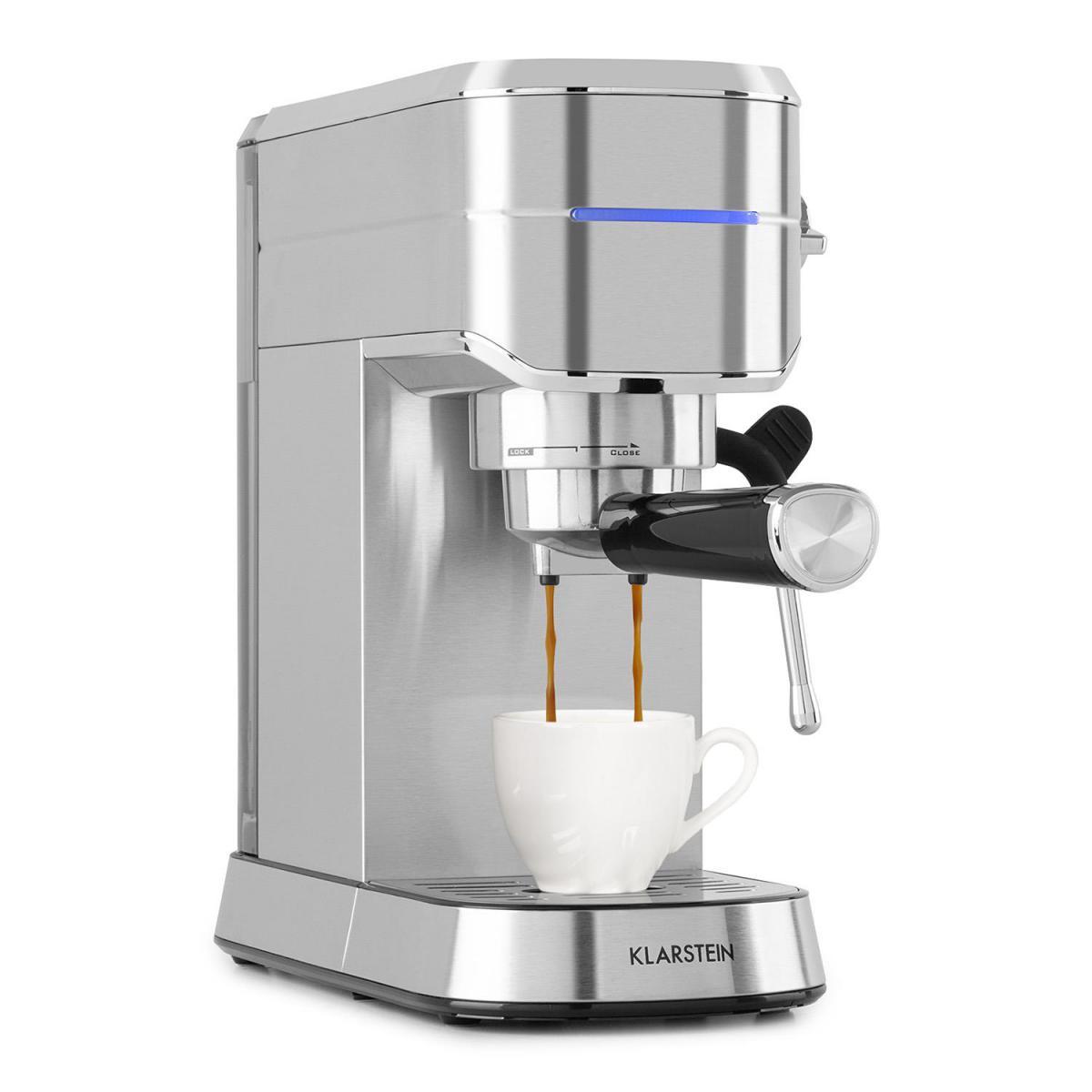 Klarstein Machine à expresso - Klarstein Futura - 1450W - Pression 20 bars - Argent