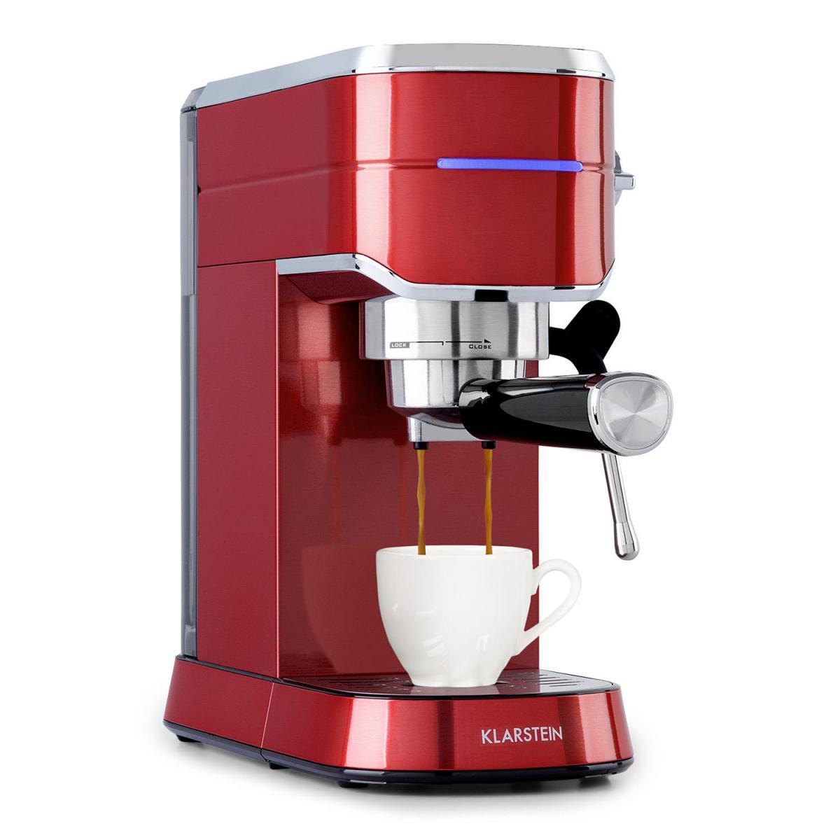 Klarstein Machine à expresso - Klarstein Futura - 1450W - Pression 20 bars - Rouge